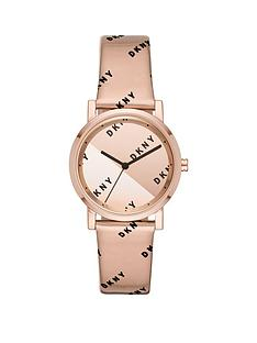 dkny-dkny-soho-rose-gold-and-black-logo-mirror-dial-liquid-gel-rose-gold-strap-ladies-watch