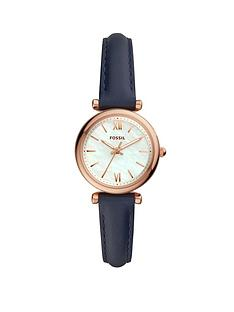 fossil-fossil-mini-carlie-white-satin-mother-of-pearl-and-rose-gold-dial-blue-leather-strap-ladies-watch