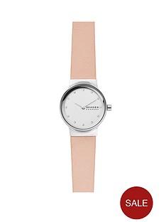 skagen-skagen-white-and-silver-dial-pink-leather-strap-ladies-watch