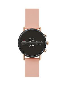 skagen-skagen-falster-2-full-display-with-black-and-rose-gold-detail-dial-pink-leather-strap-smart-watch
