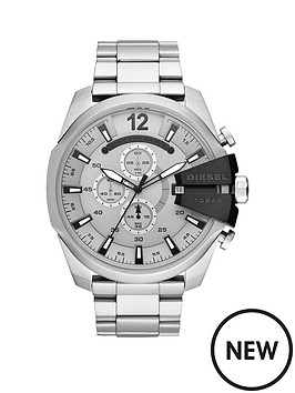 Diesel Diesel Mega Chief Silver and Black Detail Chronograph Dial Stainless  Steel Bracelet Mens Watch 0be5920e365