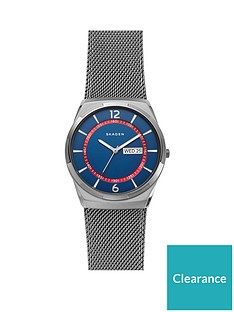 skagen-skagen-melbye-blue-and-red-detail-daydate-dial-gunmetal-stainless-steel-mesh-strap-mens-watch