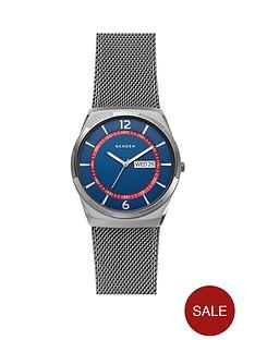 1600342396: Skagen Skagen Melbye Blue and Red Detail Daydate Dial Gunmetal Stainless Steel Mesh Strap Mens Watch