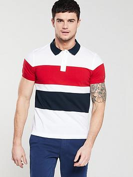988ca4e5 Tommy Hilfiger Large Chest Stripe Slim Polo Shirt - White/Navy/Red ...