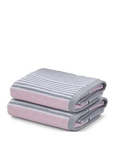 catherine-lansfield-textured-stripe-bath-towel-range-ndash-pinkgrey