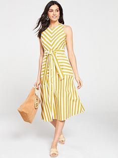 b9f415a35c3 Warehouse Stripe Button Front Mix Dress - Yellow