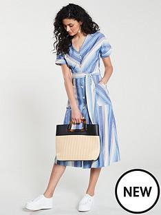warehouse-warehouse-chevron-stripe-button-through-midi-dress