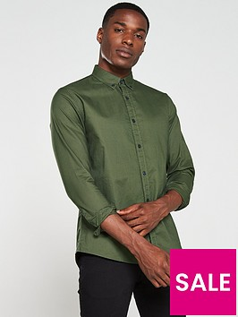v-by-very-long-sleeved-button-down-oxford-shirt-khaki