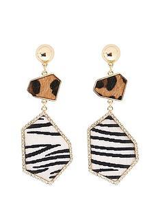 river-island-river-island-animal-print-mix-drop-earrings-gold