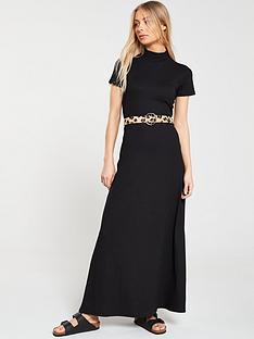 333d0da40de3f6 V by Very High Neck Maxi Dress - Black