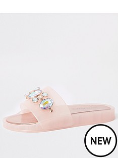 650f5196327 River Island River Island Jelly Gem Slide - Light Pink