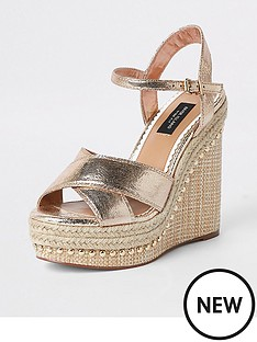 river-island-river-island-wide-fit-metallic-studded-wedge-gold