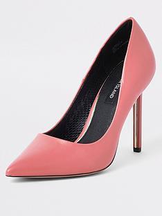 cf4dbd4c8889 River Island River Island Skinny Heel Court Shoe - Pink