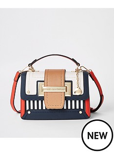 river-island-river-island-stripe-mix-weave-satchel-navy