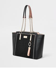 river-island-river-island-chain-handle-wing-tote-bag-black