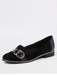 river-island-river-island-wide-fit-buckle-detail-loafer-black