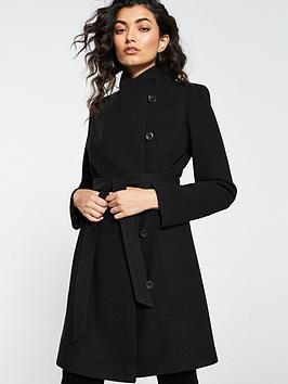 Funnel Neck Coat   Black by V By Very
