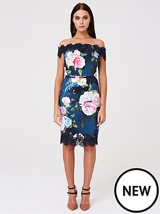 6ebd96fce32e Paper Dolls Bardot Floral Printed Bodycon Dress - Multi