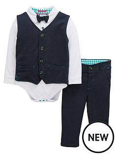 41067aa260803 Baker by Ted Baker Baby Boys 3 Piece Smart Woven Suit Set - Navy