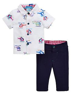 bf73441c85f6 Baker by Ted Baker Baby Boys 2 Piece Helicopter Shirt And Trouser Set -  Multi