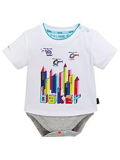 15f222fd6 Baker by Ted Baker Baby Boys City Short Sleeve T Shirt Body Suit - White