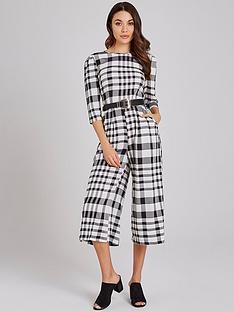 5dff917f635b Girls on Film Gingham Tie Back Culotte Jumpsuit - Black White