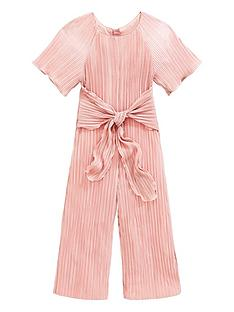 2e614bc4801e65 Baker by Ted Baker Girls Plisse Tie Front Jumpsuit - Gold