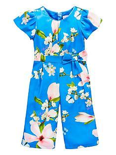 c5aae71ca13fd7 Baker by Ted Baker Girls Floral Satin Jumpsuit - Blue