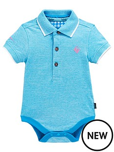 b83847b9fc8946 Baker by Ted Baker Baby Boy Geo Short Sleeve Polo Bodysuit - Aqua