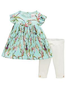 eb9c635ff Baker by Ted Baker Baby Girls Floral Plisse Top   Legging Outfit - Light  Green