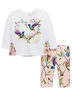 117a2eb6d7ac7 Baker by Ted Baker Baby Girls Frill Back Top   Legging Outfit - Light Pink