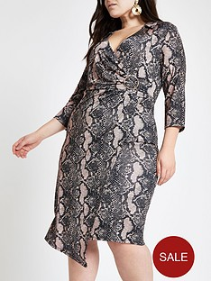 0a618e6bfc0 RI Plus Ri Plus Animal Print Jersey Wrap Midi Dress - Beige