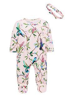 41bd94bd247b Baker by Ted Baker Baby Girls All Over Print Sleepsuit - Light Pink
