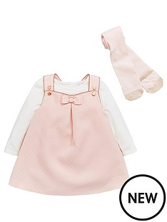d24226601 Baker by Ted Baker Baby Girls Frill Pindot Pinny And Long Sleeve Top Set