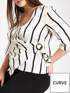78f02bd5590 RI Plus Ri Plus Ring Stripe Detail Wrap Blouse - White