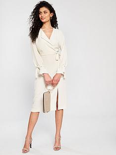 54c881c7eb River Island Wrap Midi Dress - Stone