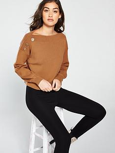 6ebf3e14306 River Island River Island Boat Neck Knitted Jumper - Toffee