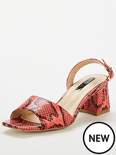 95836ace872 Lost Ink Riva Square Mid Flared Heeled Sandals - Coral