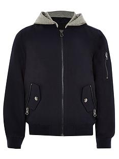 ebb6afef2a1f River Island Boys Navy Hooded Bomber Jacket