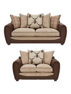 highland-fabricfauxnbspsnakeskin-3-seaternbsp-2-seaternbspscatter-back-sofa-buy-and-save