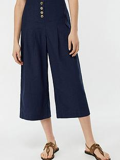 monsoon-becky-button-front-culottes-navy