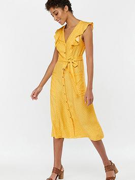 4018d918664f1 Monsoon Araceli Print Midi Ruffle Dress - Yellow | littlewoodsireland.ie