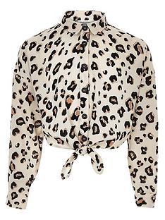 river-island-girls-leopard-print-tie-front-shirt-brown