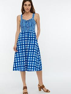 60a17181c97 Monsoon Juliette Check Print Midi Dress - Blue