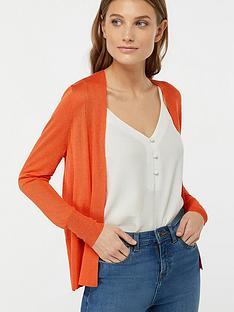 monsoon-evie-edge-to-edge-linen-blend-cardigan-orange