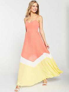 v-by-very-pleated-colour-block-maxi-dress-coralyellownbsp