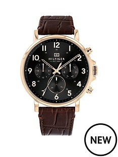 c746b56410a6b0 Tommy Hilfiger Tommy Hilfiger Daniel Black and Carnation Gold Chronograph  Dial Brown Croc Leather Strap Mens Watch