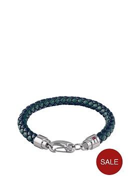 tommy-hilfiger-tommy-hilfiger-green-leather-stainless-steel-clasp-mens-bracelet
