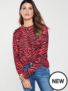 v-by-very-crew-neck-zebra-jumper-red