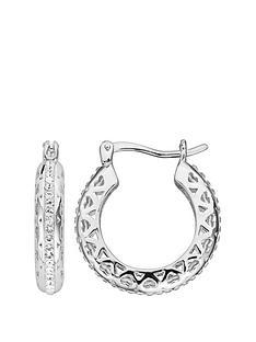 bfdbf719f Evoke Sterling Silver Swarovski Crystal Filigree Heart Hoop Creole Earrings